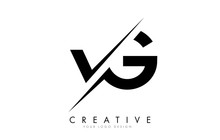 VG V G Letter Logo Design With A Creative Cut.