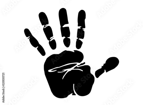 vector illustration of a handprint isolated on the white background Canvas Print