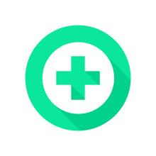 Green Cross Pharmacy Icon. Isolated Green Cross In Vector. Pharmacy Cross