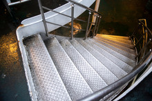 Metal Stairways To Lower Deck In A Ship