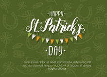 St Patrick's Day Poster With Hand Drawn Doodle St. Patrick's Hat, Horseshoe, Four-leaf Clover And Gold Coins. St Patrick's Day 2020. Lettering. Place For Your Text.