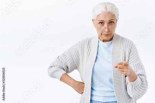 Strict, serious-looking displeased and angry senior woman, grandmother disappoin Fototapet
