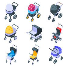 Pram Icons Set. Isometric Set ...