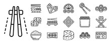 Sushi Roll Icons Set. Outline ...