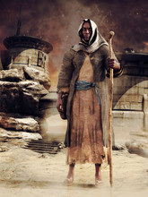 Hooded Wanderer Standing Among Ruins Of An Ancient City In The Desert. 3D Render - The Model In The Image Is A 3D Object.