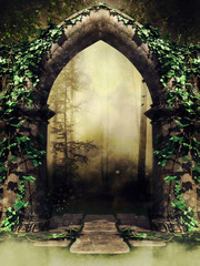 Old gothic stone gate with ivy leading to a dark forest in a foggy landscape. 3D render.