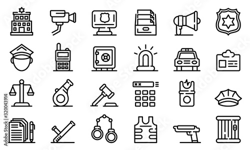Fotografía Police station icons set