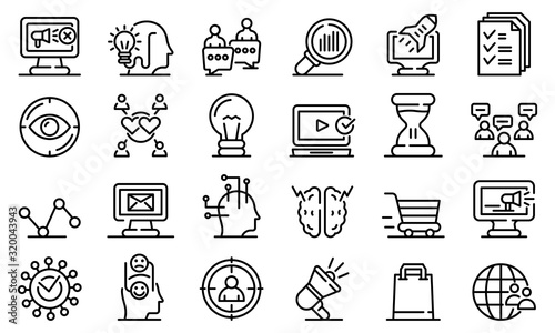 Neuromarketing icons set Canvas Print