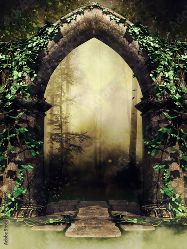 Photo Old gothic stone gate with ivy leading to a dark forest in a foggy landscape