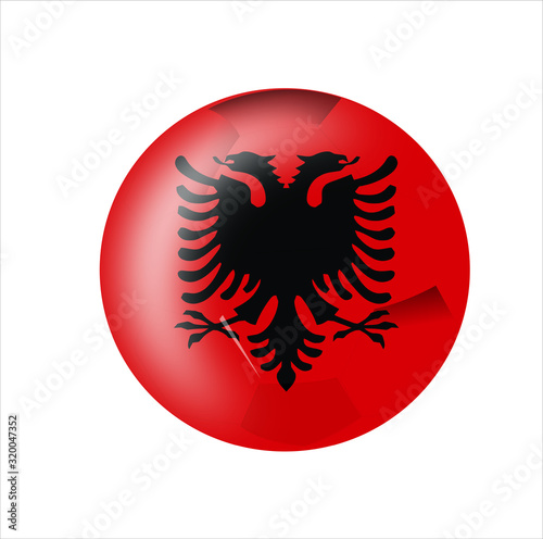 Photo albania flag icon with white background