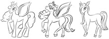 Vector Set Of Coloring Pony. Pegasus, Unicorn And Pony. Set For Coloring Book For Children. Pony Outlines Set