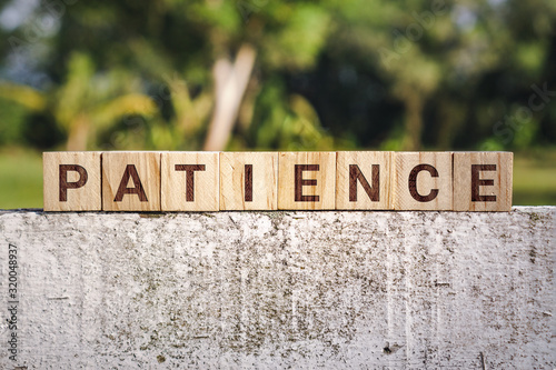 Fotografiet Wooden Block With The Word Patience