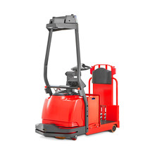 Red Tow Tractor Isolated On White. Side View Automated Lift Pallet Truck Low-Lift Order Picker With Lifting Driver Platform. Forklift Truck. Electric Lift Stacker Truck. Industrial Warehouse Equipment