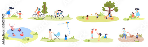 Large set of summer family activities showing kids and parents, swimming, flying Wallpaper Mural