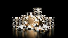 White And Golden Casino Chips Isolated On The Black Background - 3D
