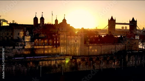 View of Tower of London and Tower Bridge in the synny morning, London Canvas