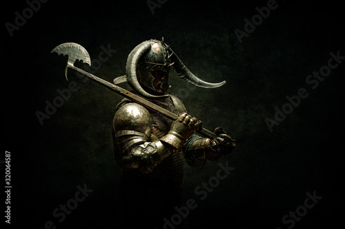 Portrait of a Viking Berserker warrior, holding a halberd on his shoulder Wallpaper Mural