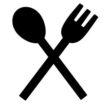 Black Icon Of Fork And Spoon