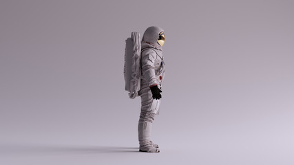 Astronaut with Gold Visor and White Spacesuit With Light Grey Background with Neutral Diffused Side Lighting Right View 3d illustration 3d render