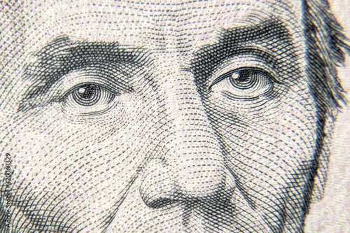 Photographie Abraham Abe Lincoln face on 5 dollar bill close up