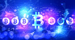 Leinwanddruck Bild - Bitcoin theme with technology blurred abstract light background