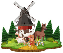 Farm Scene With Different Animals In The Field