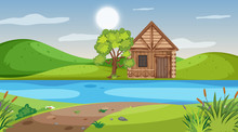 Scene With Wooden Cottage In T...