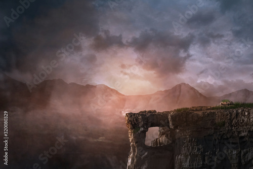 Obraz cliff background fantasy, photo editing background - fototapety do salonu