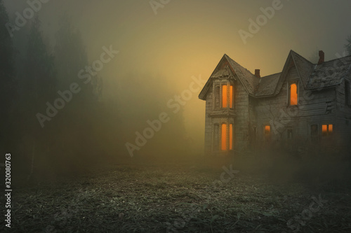 Fotografie, Tablou foggy and creepy old house, photo editing background