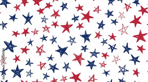 Fototapeta Independence Day USA. Presidents day. Hand drawn illustration. Stars grunge. obraz