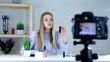 Teenage elegant girl recording her make up tutorial