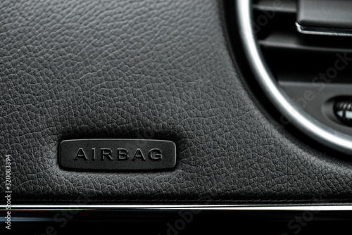 Close up image of the airbag  on the steering wheel of a car Canvas Print