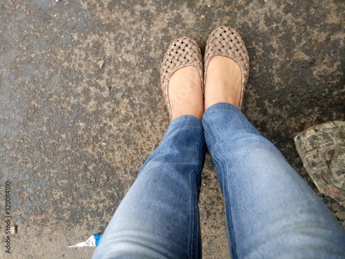 Fotografia, Obraz Low Section Of Woman Standing On Footpath
