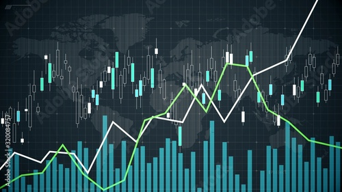 Canvastavla World stock market fluctuations reflected on screen, graph showing statistics