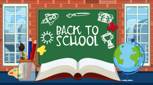 Back To School Sign With Many ...