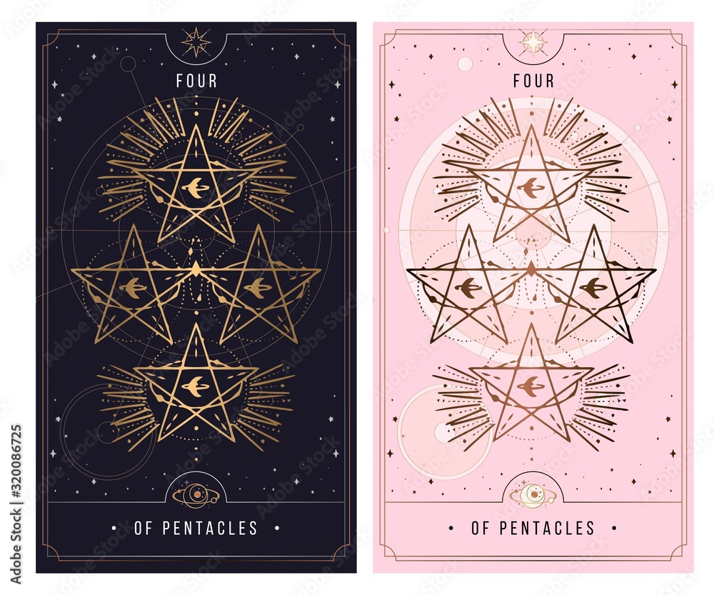Fototapeta of cups. Minor Arcana secret card, black with gold and silver card, pink with gold, illustration with mystical symbols.