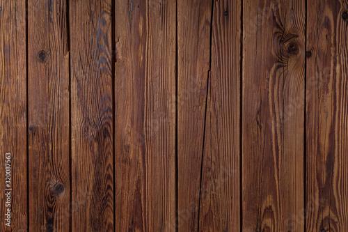 Fototapeta Textura de pranchas de madeira escura rústica envelhecida na vertical. obraz