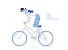 Giovane Donna In Bici, Ciclista, Giro In Bici - Illustrazione Vettoriale