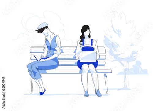 Giovani donna e uomo con portatile e libro sulla panchina al parco - Illustrazio Canvas Print