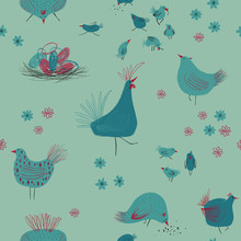 Seamless Pattern With Chickens And Flowers.