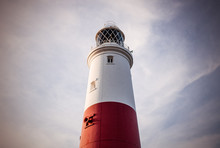 Low Angle View Of Portland Bill Lighthouse Against Sky