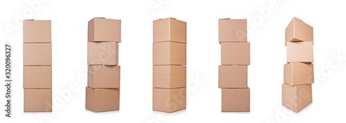 Canvastavla Carton boxes isolated on the white background