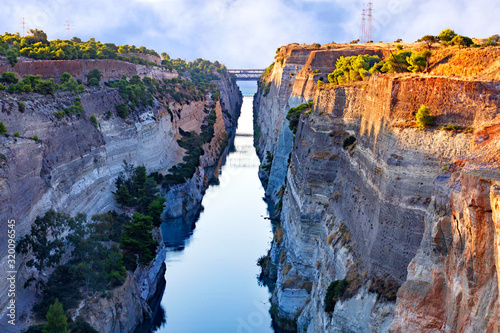 Valokuvatapetti Aerial view of the Corinth Canal in Greece