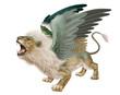 lion, mâle,  vert , femelle, volant, fantastique, menacent, dents, bouche ouvert, sauvage, ailes, animal, fauve, félin,
