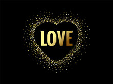 Love Quote Text Sparkling Gold...