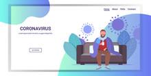 Man Feeling Sickness Epidemic MERS-CoV Bacteria Floating Influenza Virus Cells Wuhan Coronavirus Quarantine 2019-nCoV Living Room Interior Full Length Horizontal Copy Space Vector Illustration