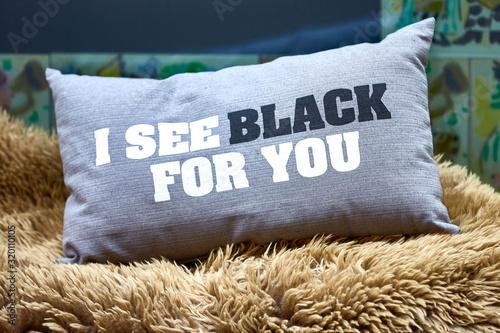 Photo Ich sehe schwarz - Kissen mit Spruch