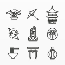 Variety Of Japanese Icon Set