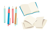Stationery, Open Book, Pencils And Pens, Blank Pages. Vector Illustration