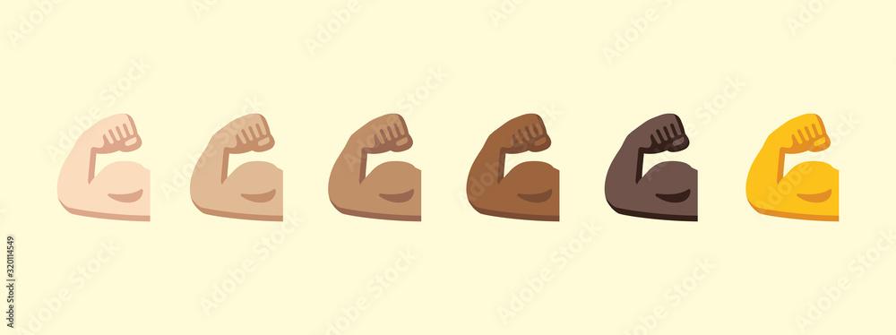 Fototapeta Biceps vector isolated icon illustration. Biceps emoji icon stock illustration